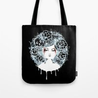 sylvia plath Tote Bags featuring Sylvia by Kate Helen Muir