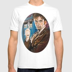 The Tenth Doctor and His TARDIS White MEDIUM Mens Fitted Tee