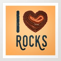 I Heart Rocks - North Shore Agate Hunting Club print v2 Art Print