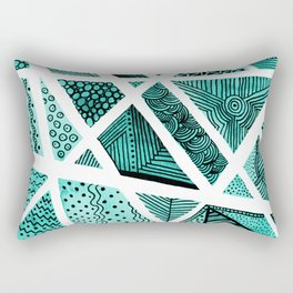 Geometric doodle pattern - turquoise and black Rectangular Pillow