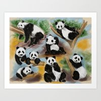 pandas Art Prints featuring Pandas by Helene Michau