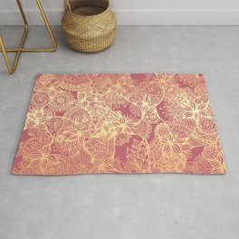Pink and Gold Mandala Doodle Patterns Rug