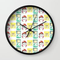 nintendo Wall Clocks featuring Nintendo Love by Laura Pulido
