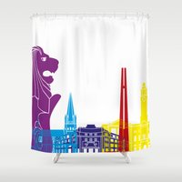 singapore Shower Curtains featuring Singapore skyline pop by Paulrommer