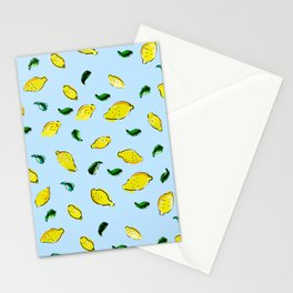 Watercolor Lemons Blue #homedecor #spring #watercolor Stationery Cards