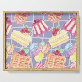 Desserts Pattern Cute Sweet Tooth Colorful Cupcakes Donuts Cakes Cookies Serving Tray