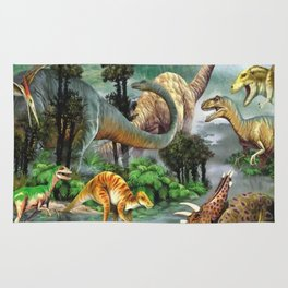 Jurassic dinosaurs drink in the river Rug