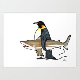Unusual surf buddies Art Print