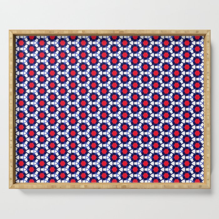 Red & Blue Pattern Serving Tray