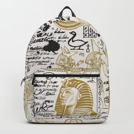Seamless pattern on the Ancient Egypt theme with unreadable notes Backpack