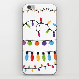 Light Bulbs Collection. Set of Christmas lights for Xmas holiday greeting card design vector backgro iPhone Skin