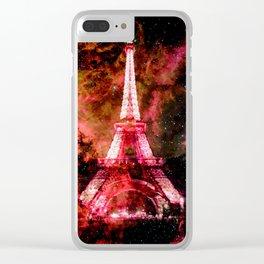 Paris Dreams Pink Orange Clear iPhone Case