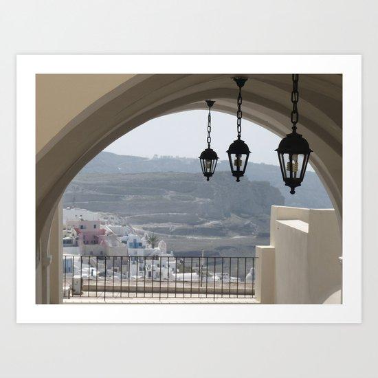 Lighting Santorini, Greece Art Print