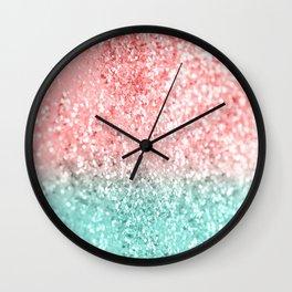 Summer Vibes Glitter #3 #coral #mint #shiny #decor #art #society6 Wall Clock