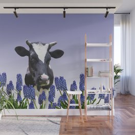 Grape hyacinths with black and white cow #society6 Wall Mural