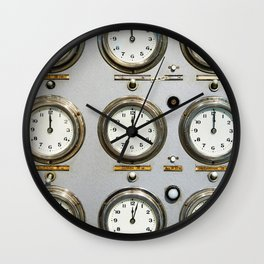 Retro clock faces on control panel Wall Clock