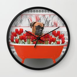 Boxer dog in red Bathtub with Tulips #society6 Wall Clock