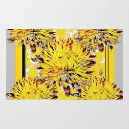 Abstracted Grey-Yellow Chrysanthemums Floral Rug