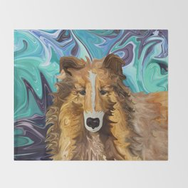 The Inquisitive Collie of the Psychedelic Dog Parade Throw Blanket
