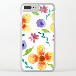 Yellow Floral Watercolor Pattern Clear iPhone Case