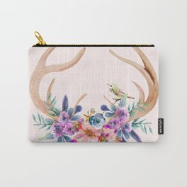 Antlers with Flowers Carry-All Pouch