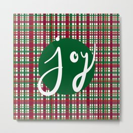 Holiday Plaid Joy - Green Metal Print