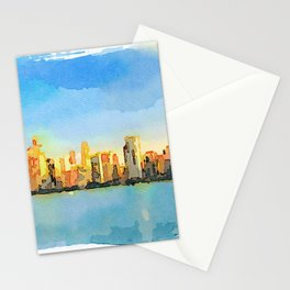 Watercolor Painting - Chicago Skyline At Sunset Viewed From North Avenue Beach by Miroslav Liska Edi Stationery Cards
