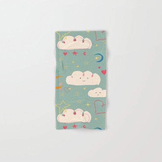 Cute clouds blue background Hand & Bath Towel