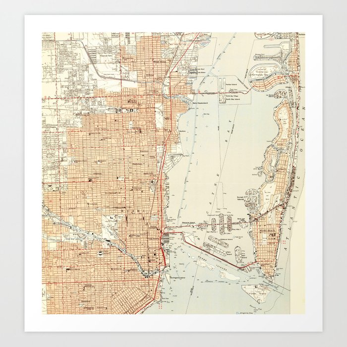 Vintage Map of Miami Florida (1950) Kunstdrucke