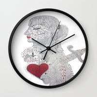 selfie Wall Clocks featuring Selfie by Ina Spasova puzzle