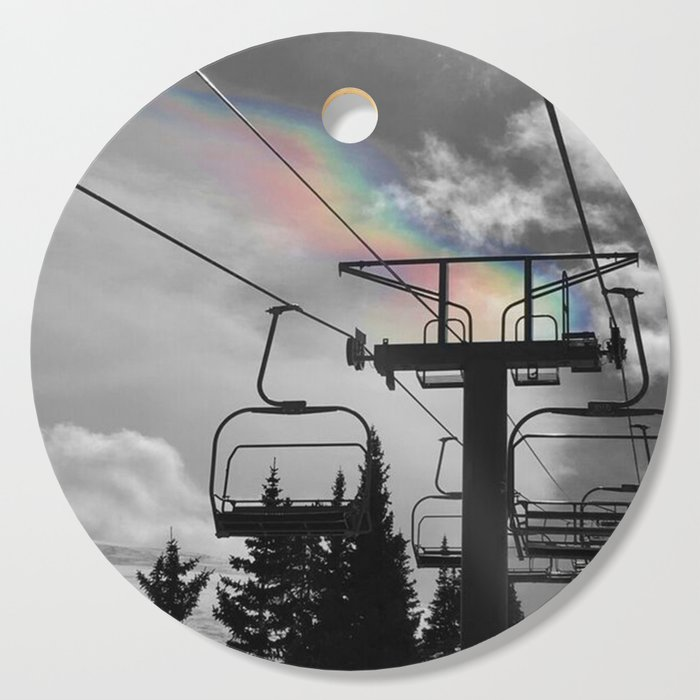 4 Seat Chair Lift Rainbow Sky B&W Cutting Board