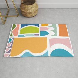 Playful Abstract Paper Cut-Out Shapes in Fun Color Rug