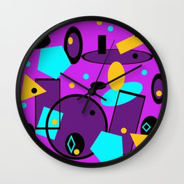 Retro abstract print purple violet Wall Clock