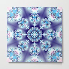 Elegant swirly kaleidoscope design in soft blue, pink, purple and cream Metal Print
