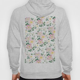 pink and white rose pattern Hoody