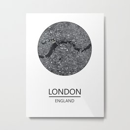 London map print drawing england Metal Print
