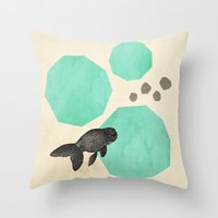 swim Throw Pillows featuring Swim by Field & Sky