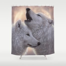 Wolves Howling Moon - Love Song Shower Curtain