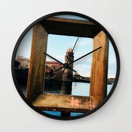 Medieval Collioure Church | Notre-Dame-des-Anges Mediterranean Coast France Deep Blue Wall Clock