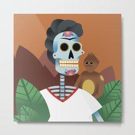 Frida&Monkey Metal Print