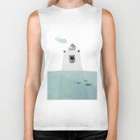 polar bear Biker Tanks featuring Polar bear by missmalagata