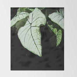 White Leaves Throw Blanket
