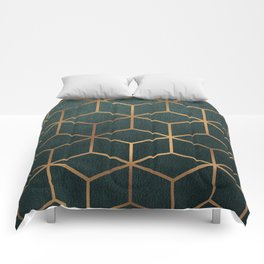 Dark Teal and Gold - Geometric Textured Gradient Cube Design Comforters