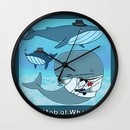 A MOB OF WHALES Wall Clock