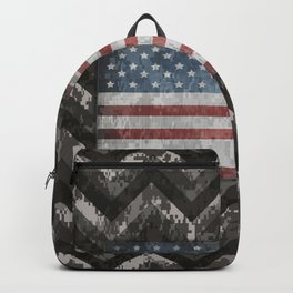 Silver Gray Digital Camo Chevrons with American Flag Backpack