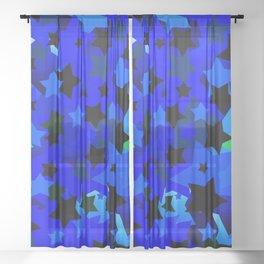 Punk Rock Stars Blue Sheer Curtain