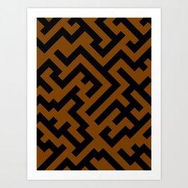 Black and Chocolate Brown Diagonal Labyrinth Art Print