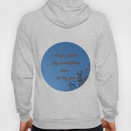 If you cannot say something nice - sit by me. Hoody