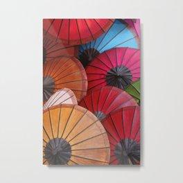 Paper Colored Umbrellas from Laos Metal Print
