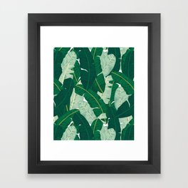 Classic Banana Leaves in Palm Springs Green Framed Art Print